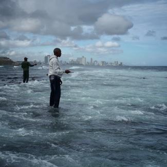 Hand line fishing east of Havana.